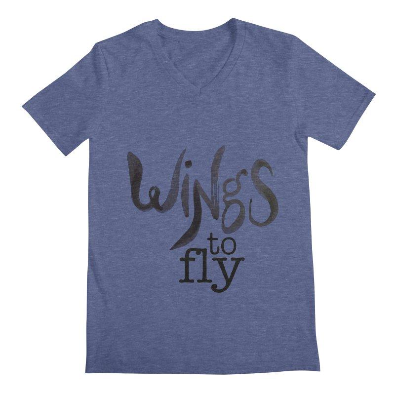 Wings To Fly Brushstroke Men's V-Neck by wingstofly's Artist Shop