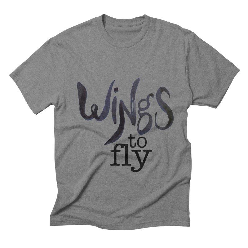 Wings To Fly Brushstroke Men's Triblend T-shirt by wingstofly's Artist Shop