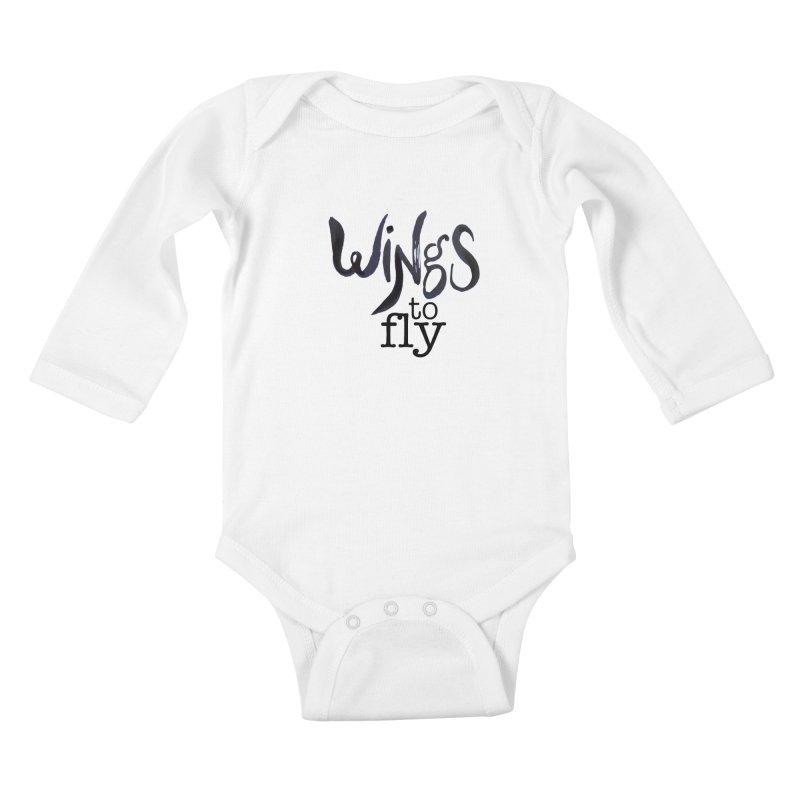 Wings To Fly Brushstroke Kids Baby Longsleeve Bodysuit by wingstofly's Artist Shop