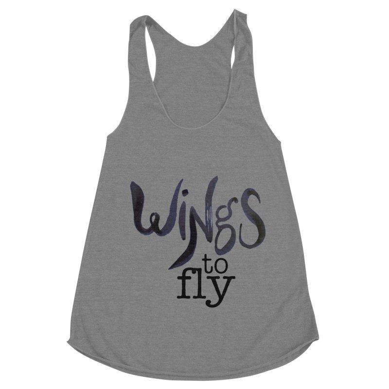 Wings To Fly Brushstroke Women's Racerback Triblend Tank by wingstofly's Artist Shop