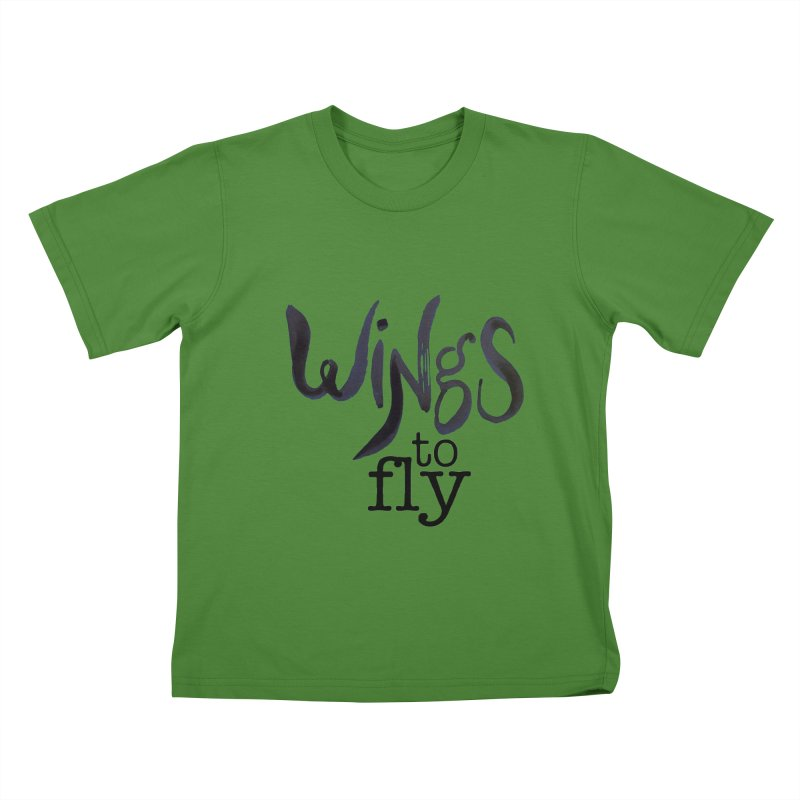Wings To Fly Brushstroke Kids T-shirt by wingstofly's Artist Shop