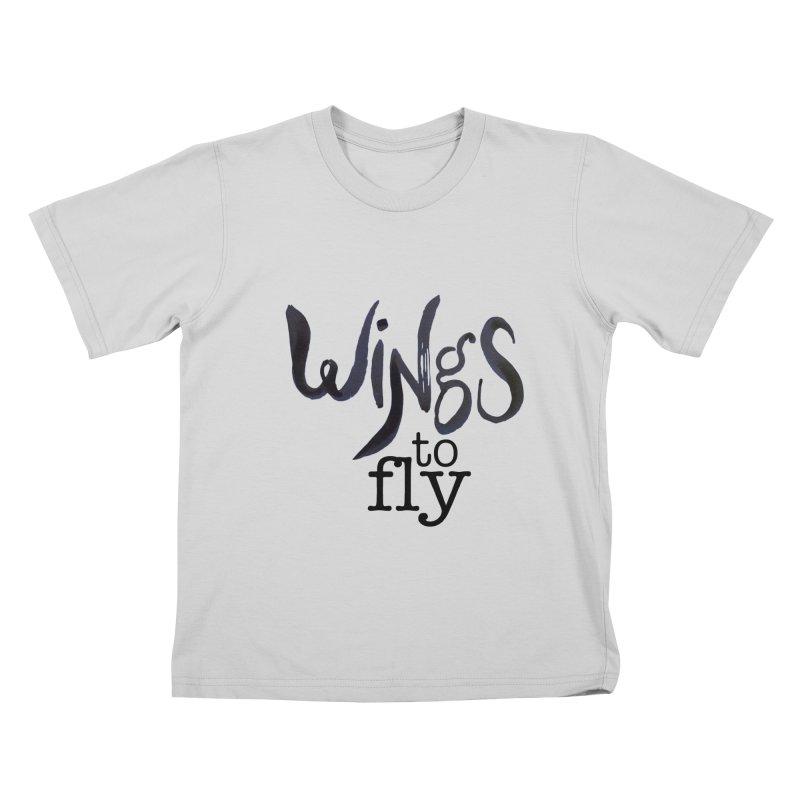 Wings To Fly Brushstroke Kids T-Shirt by wingstofly's Artist Shop
