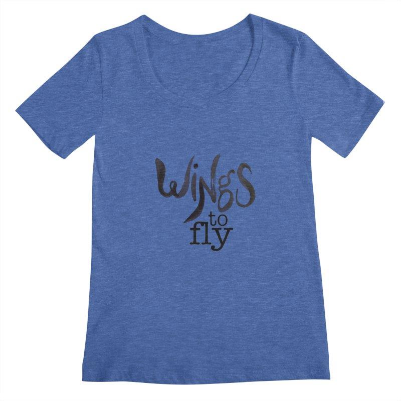 Wings To Fly Brushstroke Women's Scoopneck by wingstofly's Artist Shop