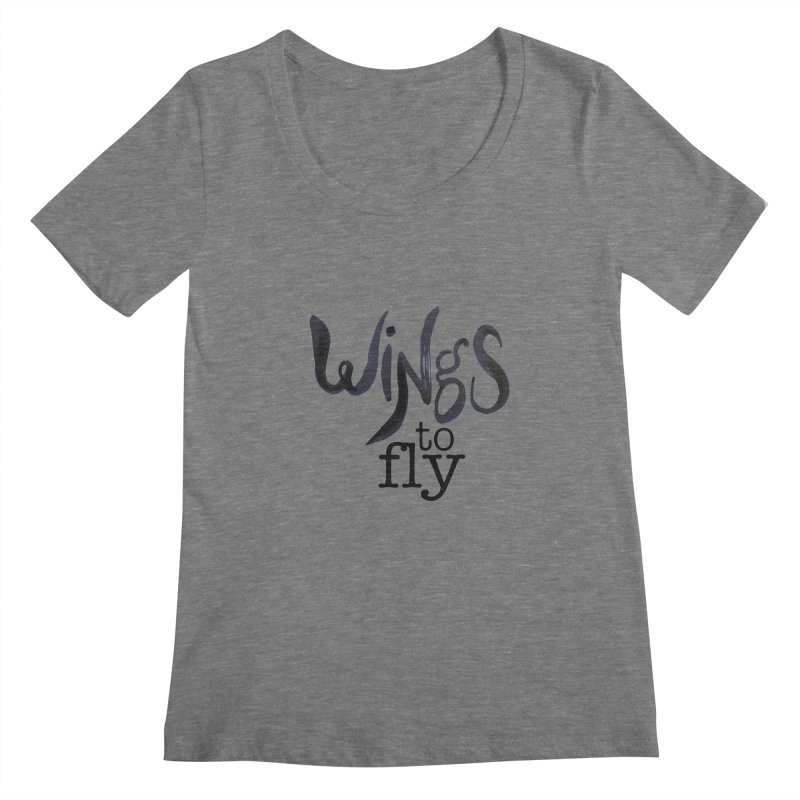 Wings To Fly Brushstroke Women's Scoopneck by wingstofly's Artist Shop