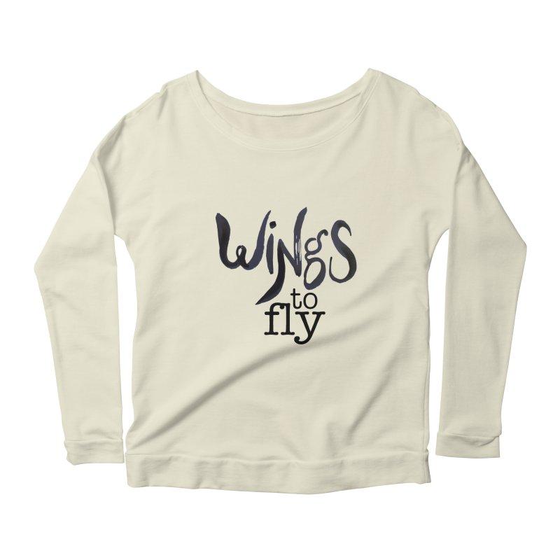 Wings To Fly Brushstroke Women's Longsleeve Scoopneck  by wingstofly's Artist Shop