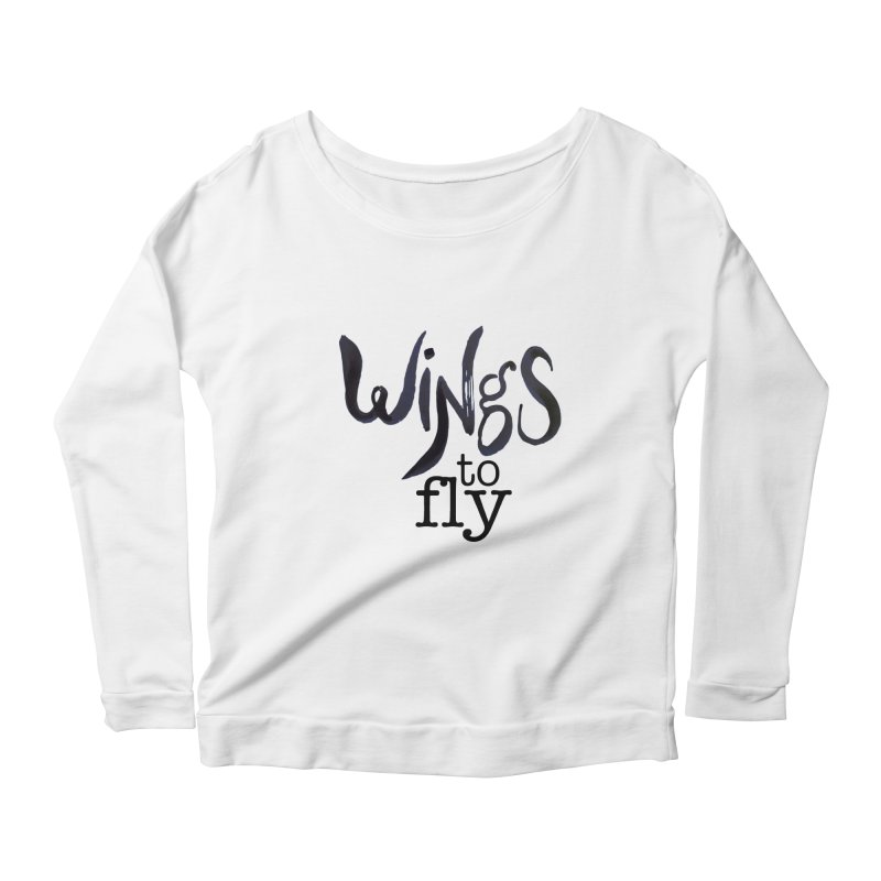 Wings To Fly Brushstroke Women's Longsleeve Scoopneck  by wingstofly's Artist Shop