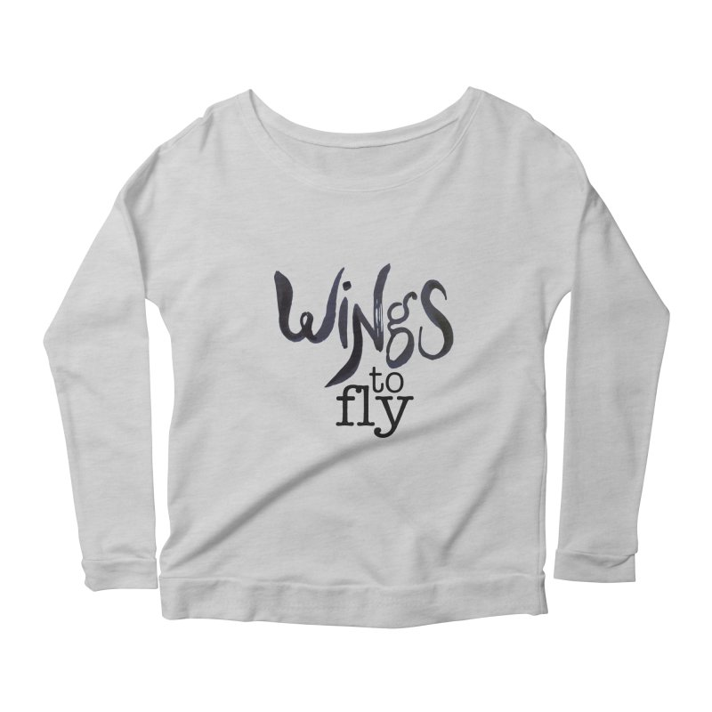 Wings To Fly Brushstroke Women's Scoop Neck Longsleeve T-Shirt by wingstofly's Artist Shop
