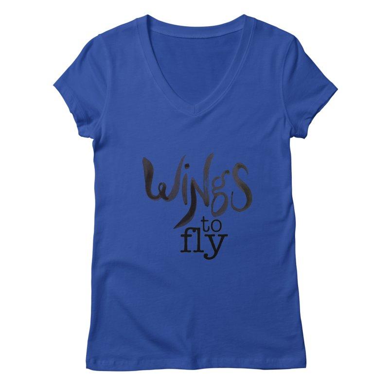 Wings To Fly Brushstroke Women's V-Neck by wingstofly's Artist Shop