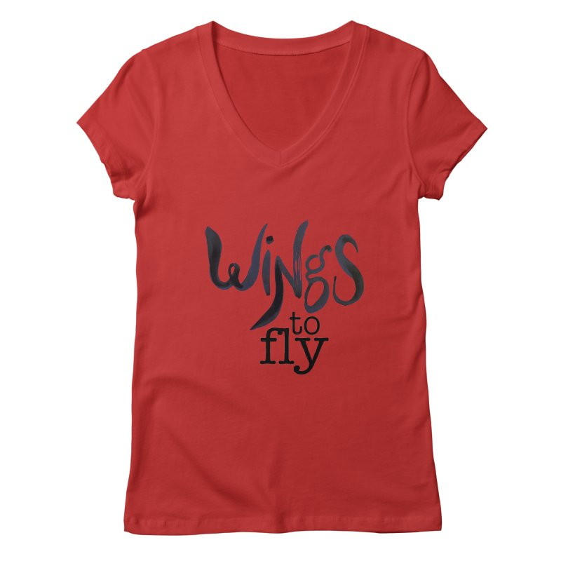 Wings To Fly Brushstroke Women's Regular V-Neck by wingstofly's Artist Shop