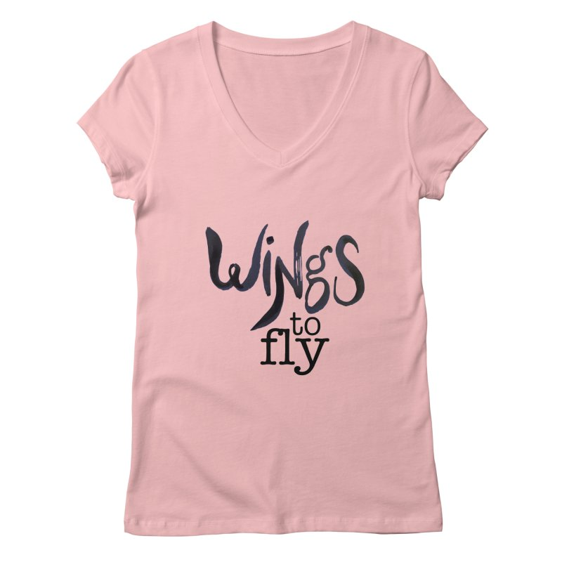 Wings To Fly Brushstroke Women's Regular V-Neck by wingstofly's Artist Shop