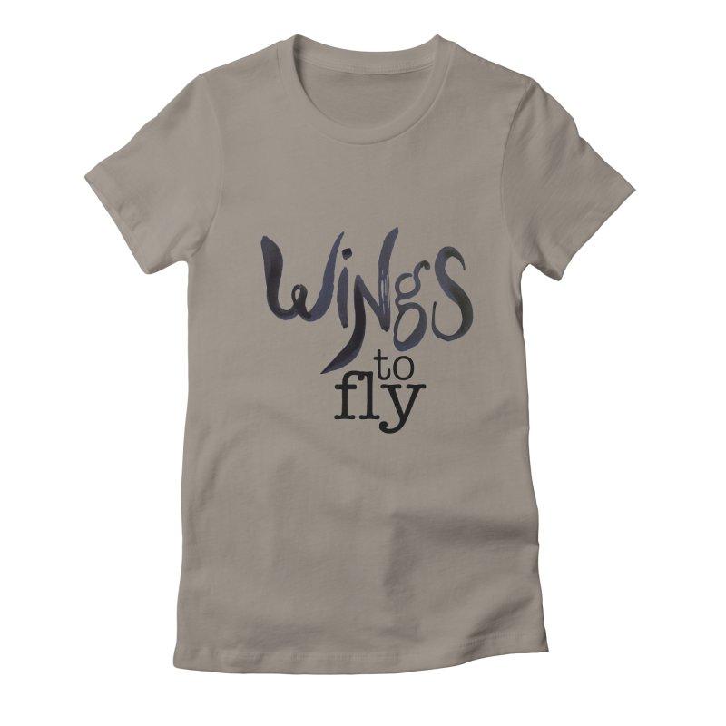 Wings To Fly Brushstroke Women's Fitted T-Shirt by wingstofly's Artist Shop