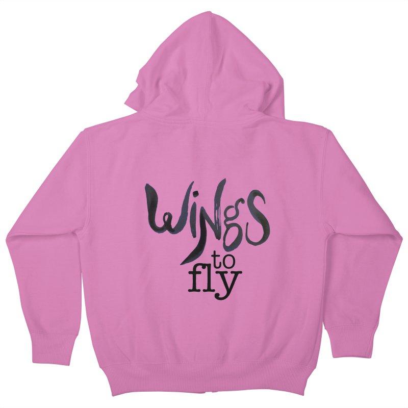 Wings To Fly Brushstroke Kids Zip-Up Hoody by wingstofly's Artist Shop