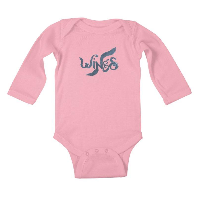 Outstretched Wings Kids Baby Longsleeve Bodysuit by wingstofly's Artist Shop