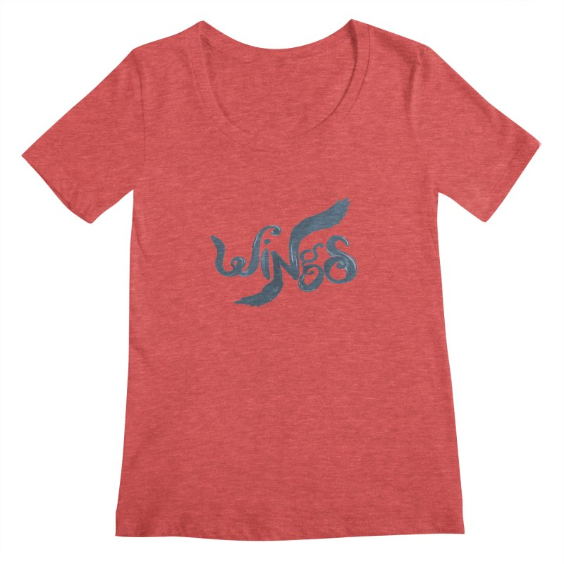 Outstretched Wings Women's Scoopneck by wingstofly's Artist Shop