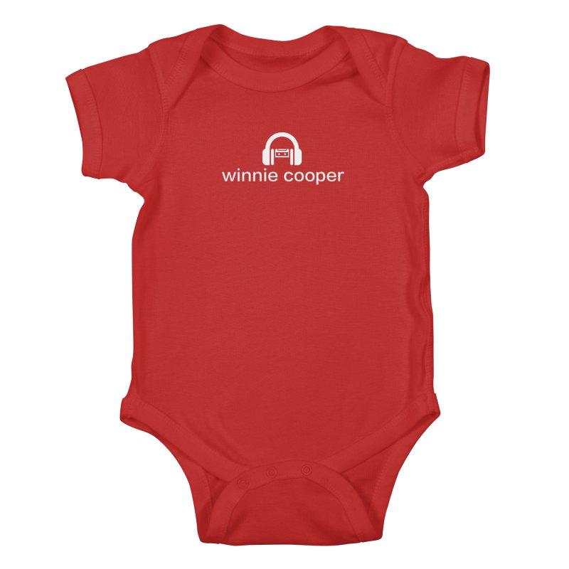 Winnie Cooper Logo Wide White on Black Kids Baby Bodysuit by Winnie Cooper's Artist Shop