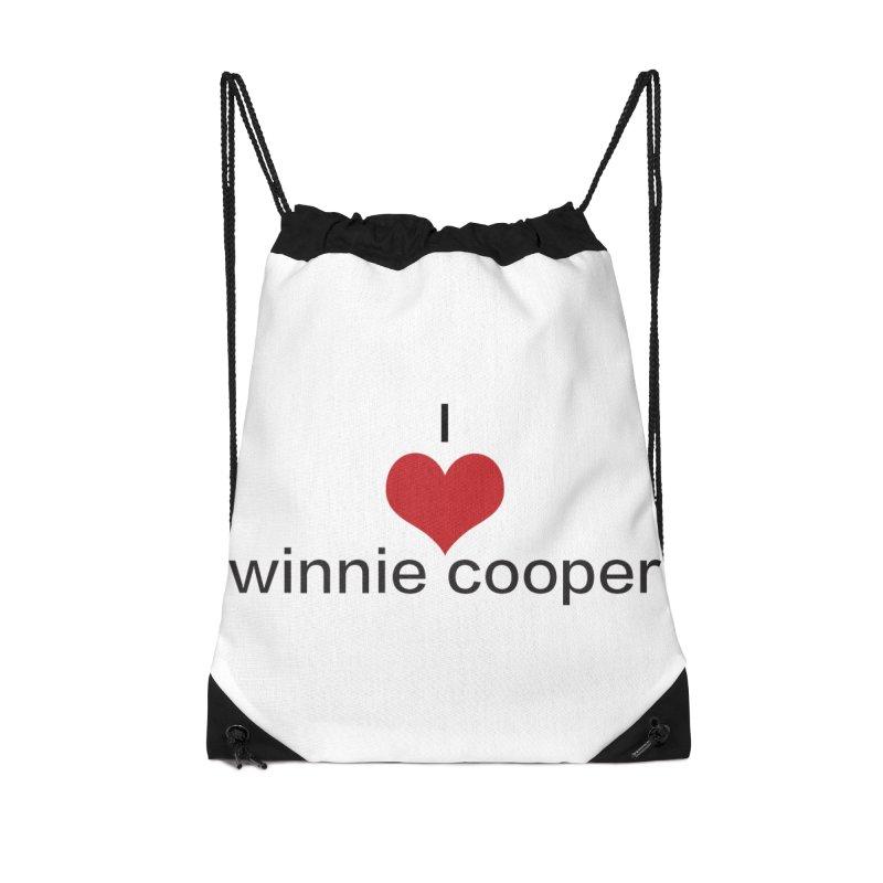 I Heart Winnie Cooper (Black Text) Accessories Drawstring Bag Bag by Winnie Cooper's Artist Shop
