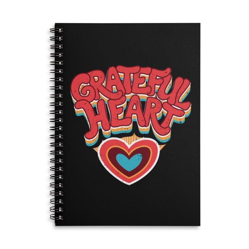 GRATEFUL HEART Accessories Lined Spiral Notebook by Winterglaze's Artist Shop