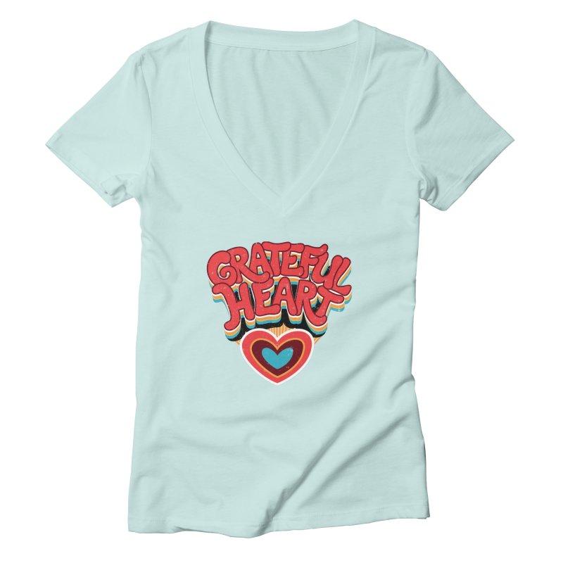 GRATEFUL HEART Women's Deep V-Neck V-Neck by Winterglaze's Artist Shop