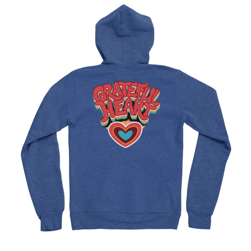 GRATEFUL HEART Men's Sponge Fleece Zip-Up Hoody by Winterglaze's Artist Shop