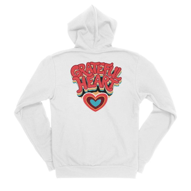 GRATEFUL HEART Women's Sponge Fleece Zip-Up Hoody by Winterglaze's Artist Shop