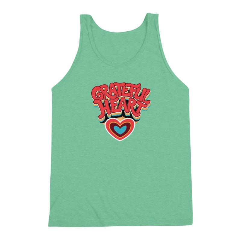 GRATEFUL HEART Men's Triblend Tank by Winterglaze's Artist Shop
