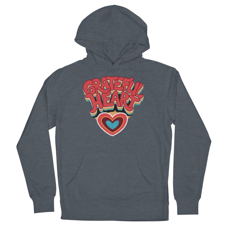GRATEFUL HEART Women's French Terry Pullover Hoody by Winterglaze's Artist Shop