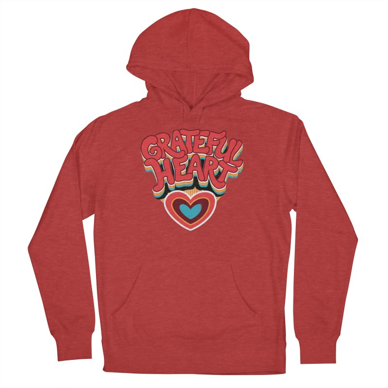 GRATEFUL HEART Men's French Terry Pullover Hoody by Winterglaze's Artist Shop