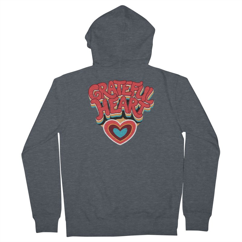 GRATEFUL HEART Women's French Terry Zip-Up Hoody by Winterglaze's Artist Shop