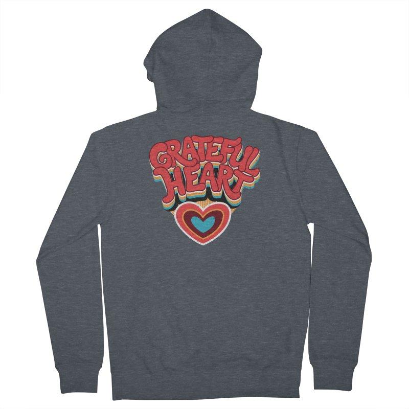 GRATEFUL HEART Men's French Terry Zip-Up Hoody by Winterglaze's Artist Shop