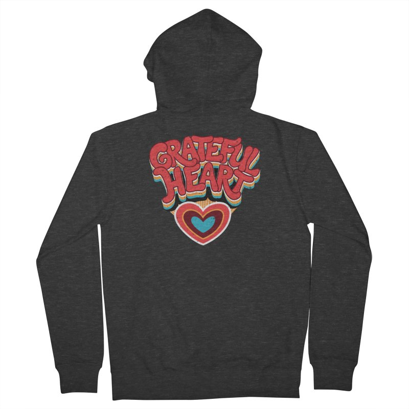 GRATEFUL HEART Men's French Terry Zip-Up Hoody by Winterglaze's Artist Shop