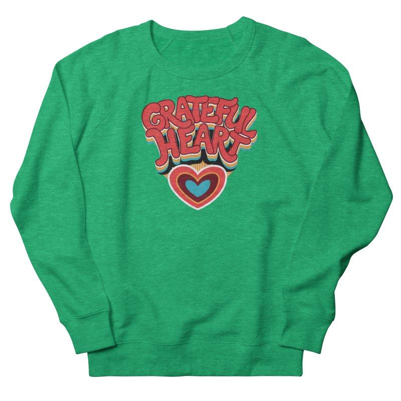 GRATEFUL HEART Men's French Terry Sweatshirt by Winterglaze's Artist Shop