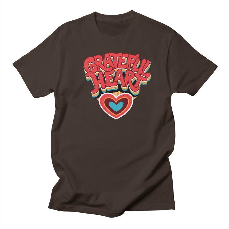 GRATEFUL HEART Men's Regular T-Shirt by Winterglaze's Artist Shop