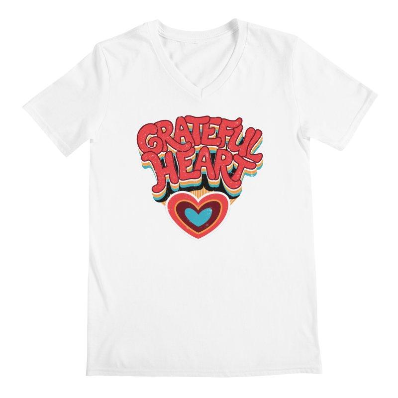 GRATEFUL HEART Men's V-Neck by Winterglaze's Artist Shop
