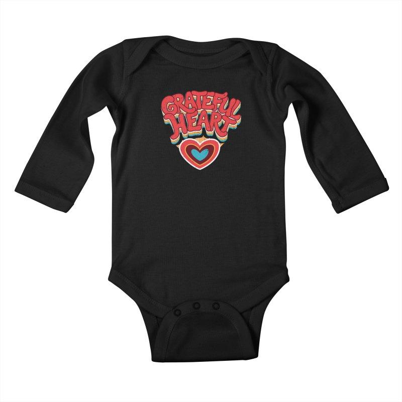 GRATEFUL HEART Kids Baby Longsleeve Bodysuit by Winterglaze's Artist Shop