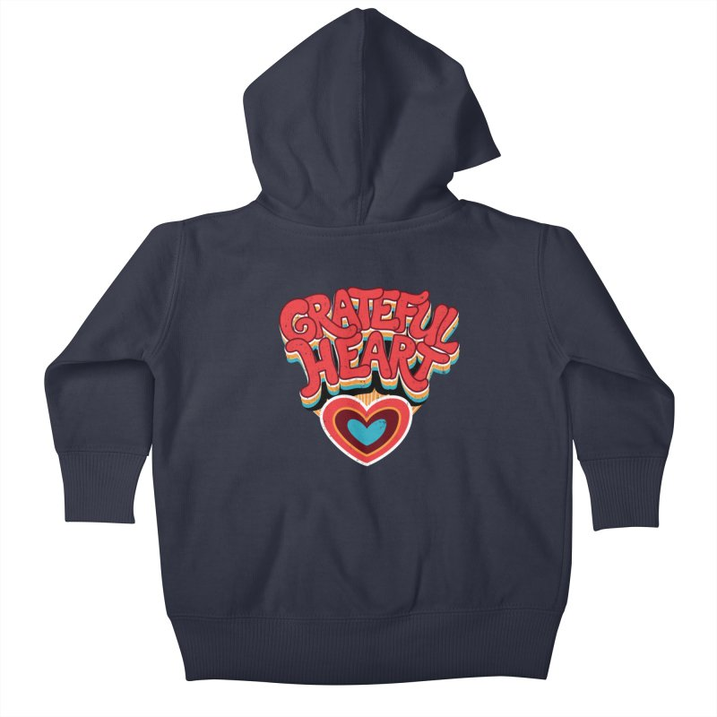 GRATEFUL HEART Kids Baby Zip-Up Hoody by Winterglaze's Artist Shop