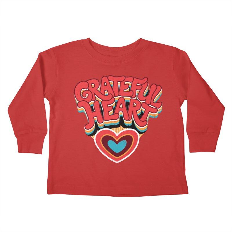 GRATEFUL HEART Kids Toddler Longsleeve T-Shirt by Winterglaze's Artist Shop