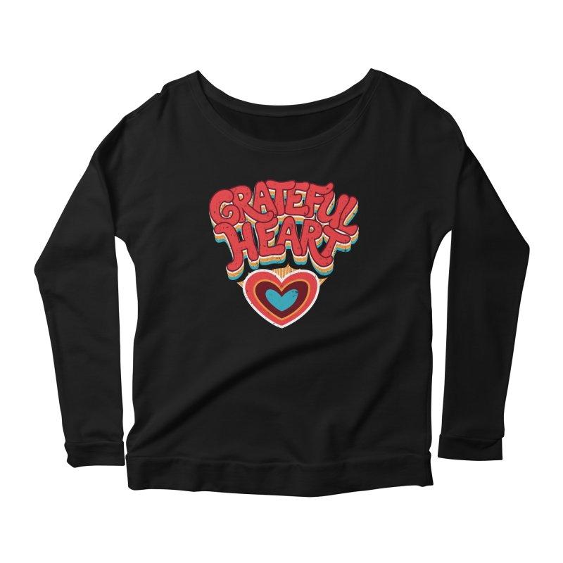 GRATEFUL HEART Women's Scoop Neck Longsleeve T-Shirt by Winterglaze's Artist Shop