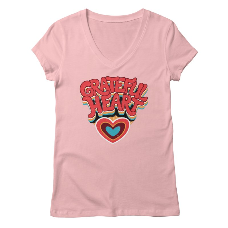 GRATEFUL HEART Women's Regular V-Neck by Winterglaze's Artist Shop