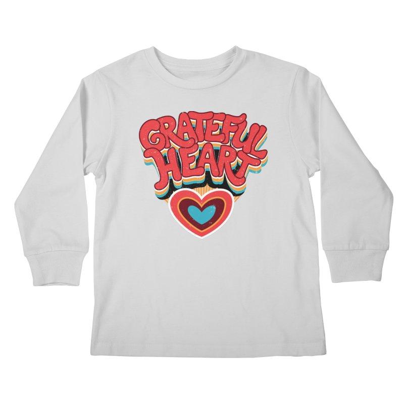 GRATEFUL HEART Kids Longsleeve T-Shirt by Winterglaze's Artist Shop