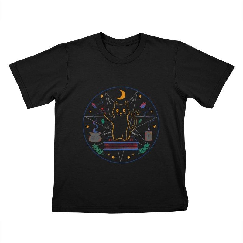 MEOW-GIC! Kids T-Shirt by Winterglaze's Artist Shop