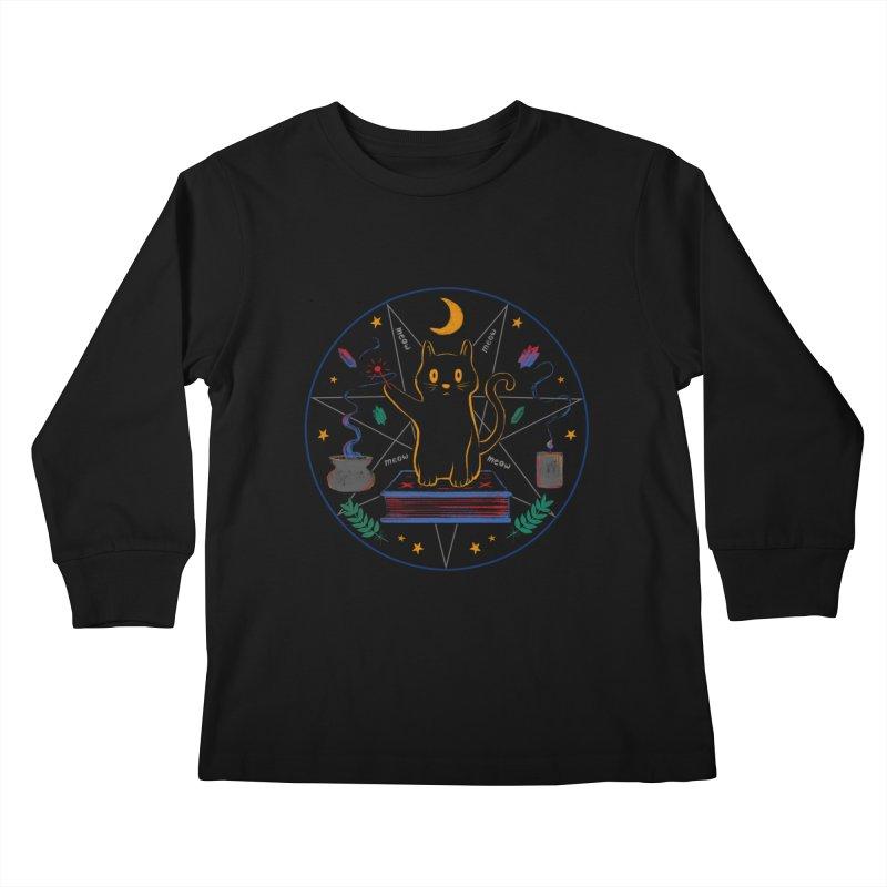 MEOW-GIC! Kids Longsleeve T-Shirt by Winterglaze's Artist Shop
