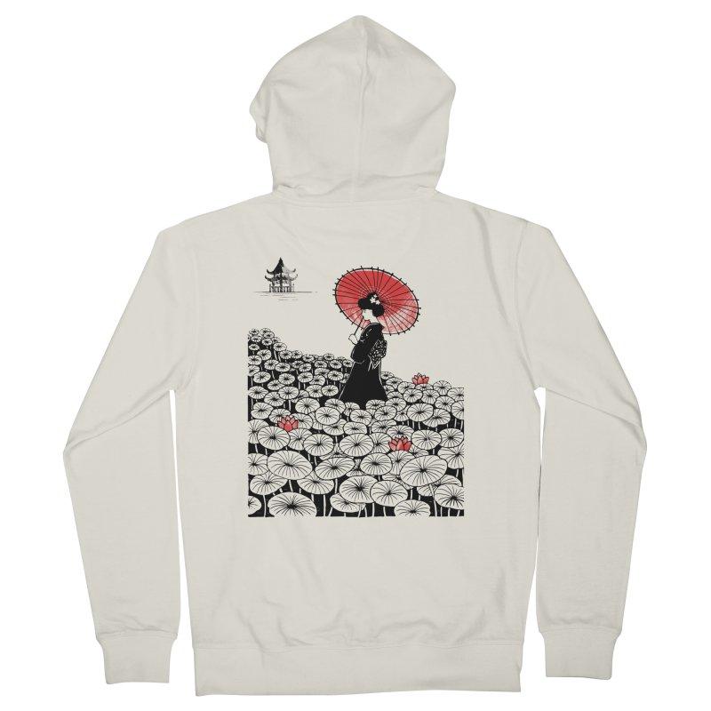 Geisha Women's French Terry Zip-Up Hoody by Winterglaze's Artist Shop