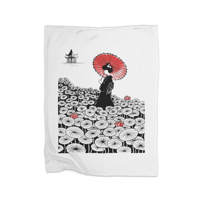 Geisha Home Fleece Blanket Blanket by Winterglaze's Artist Shop
