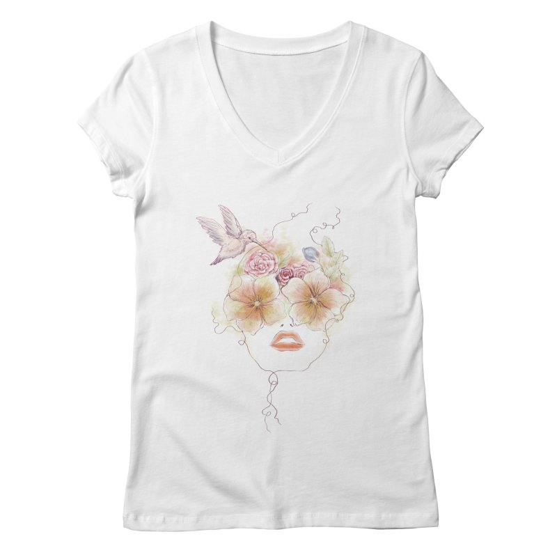 In Full Bloom Women's V-Neck by Winterglaze's Artist Shop