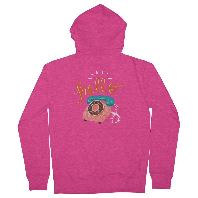 hello Women's French Terry Zip-Up Hoody by Winterglaze's Artist Shop