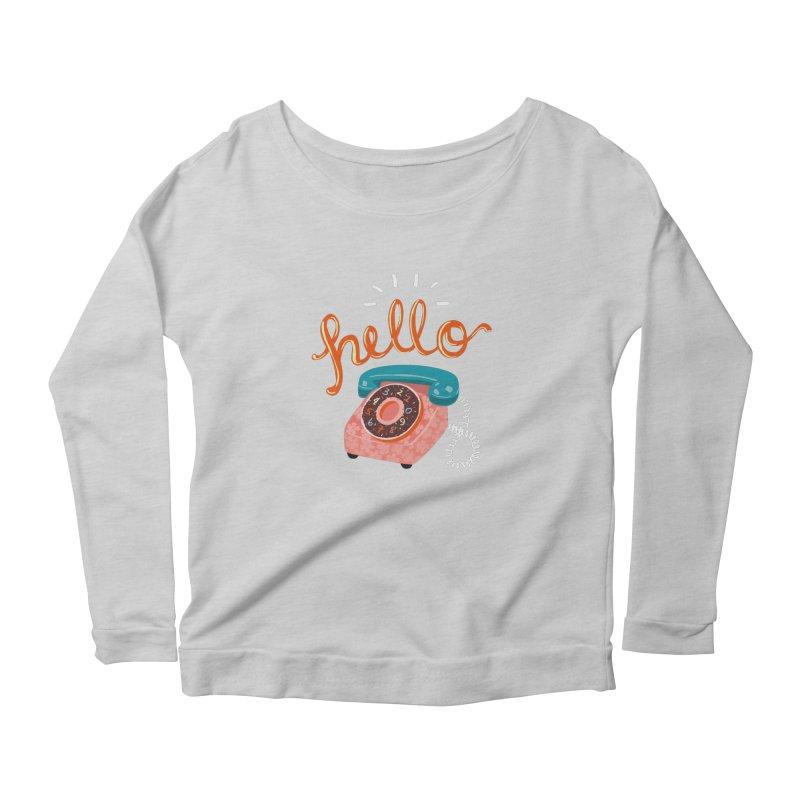 hello Women's Scoop Neck Longsleeve T-Shirt by Winterglaze's Artist Shop