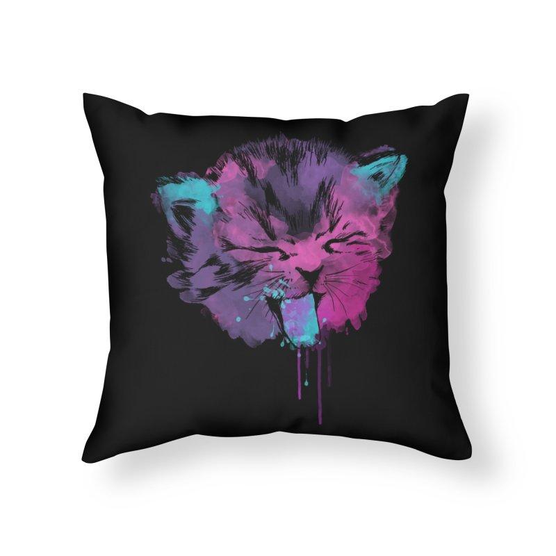 CAT SPLASH Home Throw Pillow by Winterglaze's Artist Shop