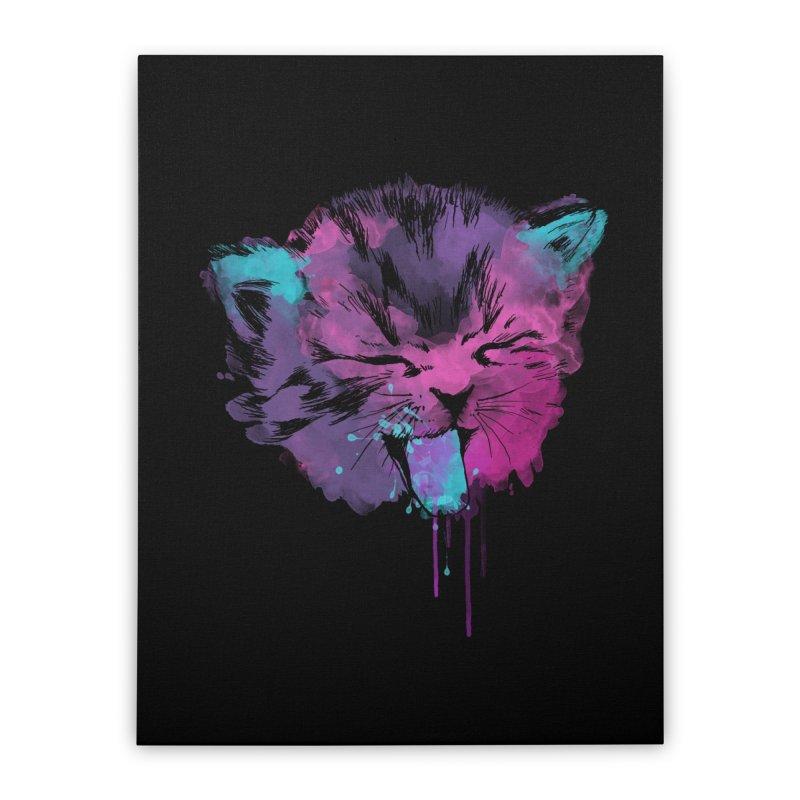 CAT SPLASH Home Stretched Canvas by Winterglaze's Artist Shop
