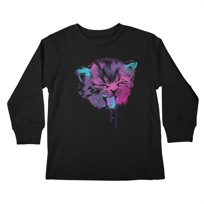 CAT SPLASH Kids Longsleeve T-Shirt by Winterglaze's Artist Shop
