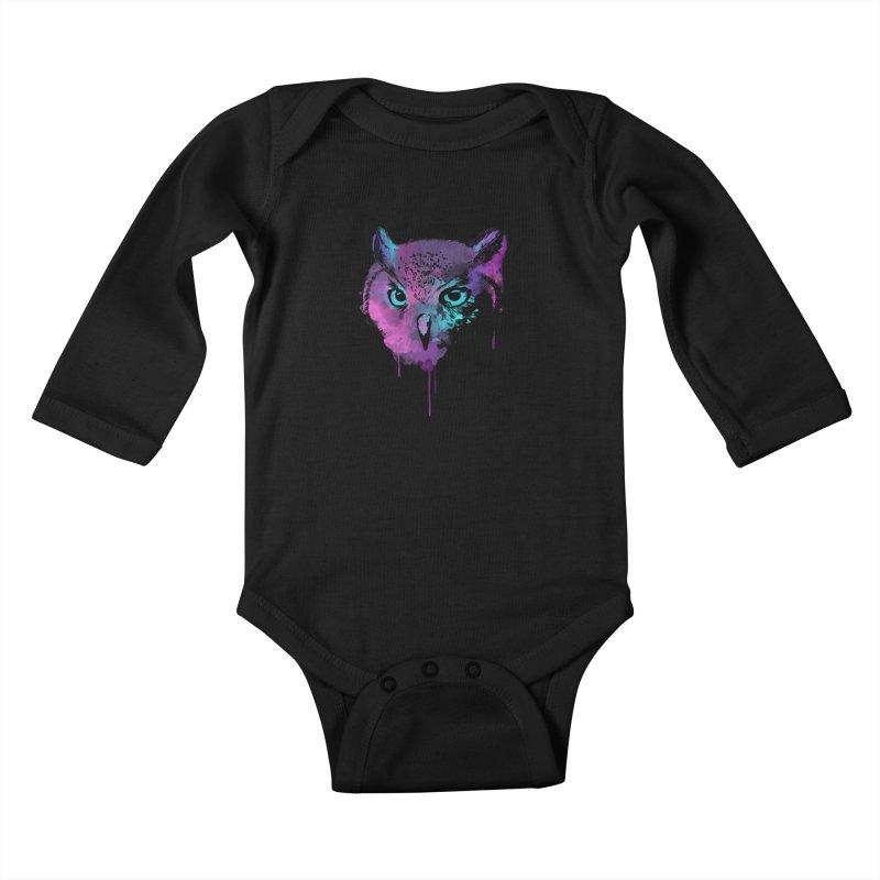 OWL SPLASH Kids Baby Longsleeve Bodysuit by Winterglaze's Artist Shop